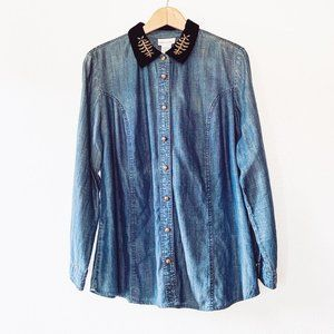 Soft Surroundings Chambray Velvet Button Down